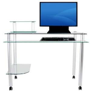Clear Tempered Glass & Aluminum Modern Computer Desk with