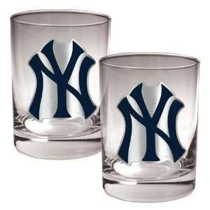 New York Yankees MLB 2pc Rocks Glass Set   Primary Logo