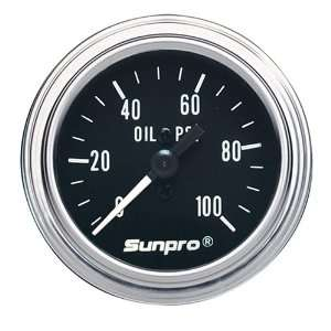 Sunpro CP7977 Mechanical Oil Pressure Gauge   Black Dial