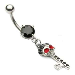 Black jeweled belly ring with dangling skull key Jewelry
