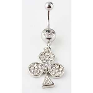 Stainless Surgical Steel Flower Belly Ring   Cubic Zirconia Stones