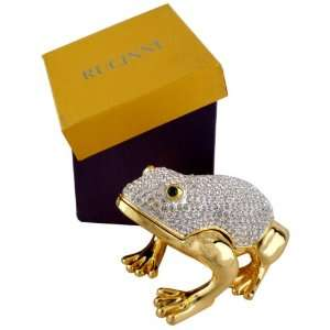 Rucinni Swarovski Crystal White Frog Trinket Box Bejeweled Jewelry