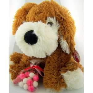 Valentines Day Teddy Bear Plush Dog Pup W Glass Eyes