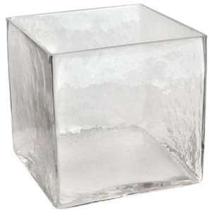 Clear Glass Cube Vase, 8Hx8Wx8D, CLEAR GLASS
