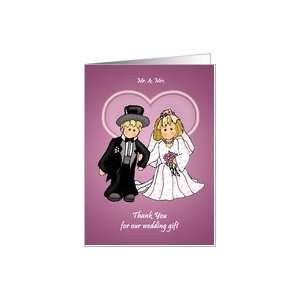 Thank You For Wedding Gift Little Bride & Groom Card