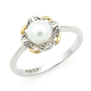 Sterling Silver Clover Diamond Leaf Ring with White Freshwater Pearl