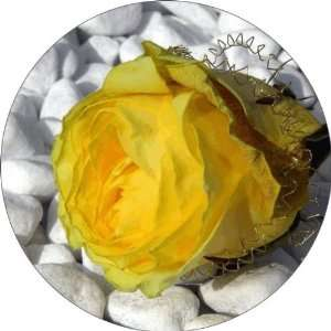 Yellow Flower on White Art   Fridge Magnet   Fibreglass reinforced