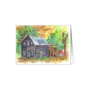 Vintage Cabin House Mountains Trees Note Card Card Health