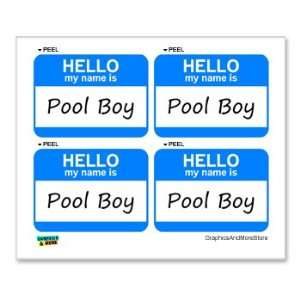Hello My Name Is Pool Boy   Sheet of 4   Window Bumper Laptop Stickers