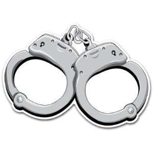 Police Handcuffs Car Bumper Sticker Decal 5.5x4