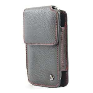 Premium Black Leather Red Stitch Vertical Carrying Pouch Case