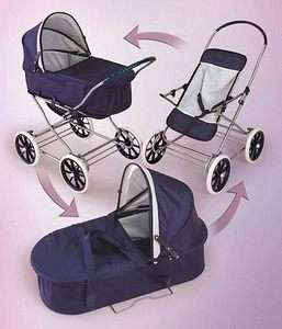 Kids Blue Baby Carriage Toy Doll Pram Stroller 3 in 1
