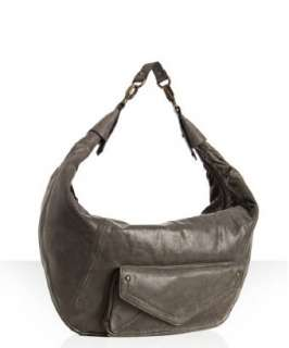 Hype smoke leather Drew top zip oversized hobo
