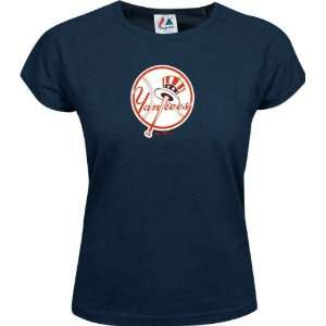 New York Yankees Womens Official Logo Cap Sleeve Tee