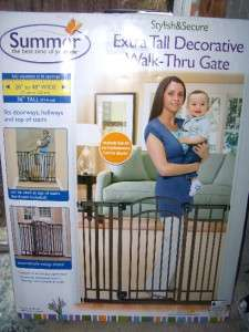Infant   Decorative Extra Tall Walk Thru Baby Safety Gate