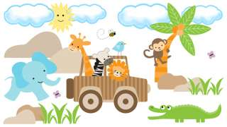 ZEBRA GIRAFFE JEEP NURSERY BABY WALL MURAL STICKERS DECALS